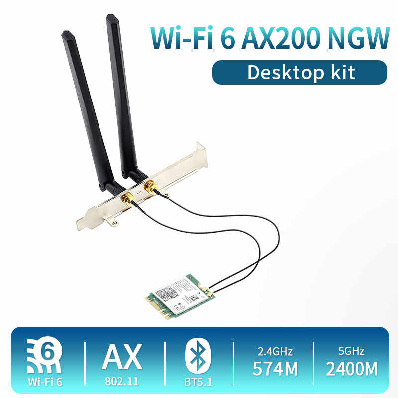 Intel placa de vídeo, 2400mbps banda dupla wi-fi 6 sem fio intel ax200 desktop kit bluetooth 5.1 ax200ngw ngff m.2 802.11ax adaptador windows 10 10