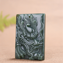 Chinese dragon necklace pendant hand carved square cyan faucet jewelry lucky amulet fashion gift