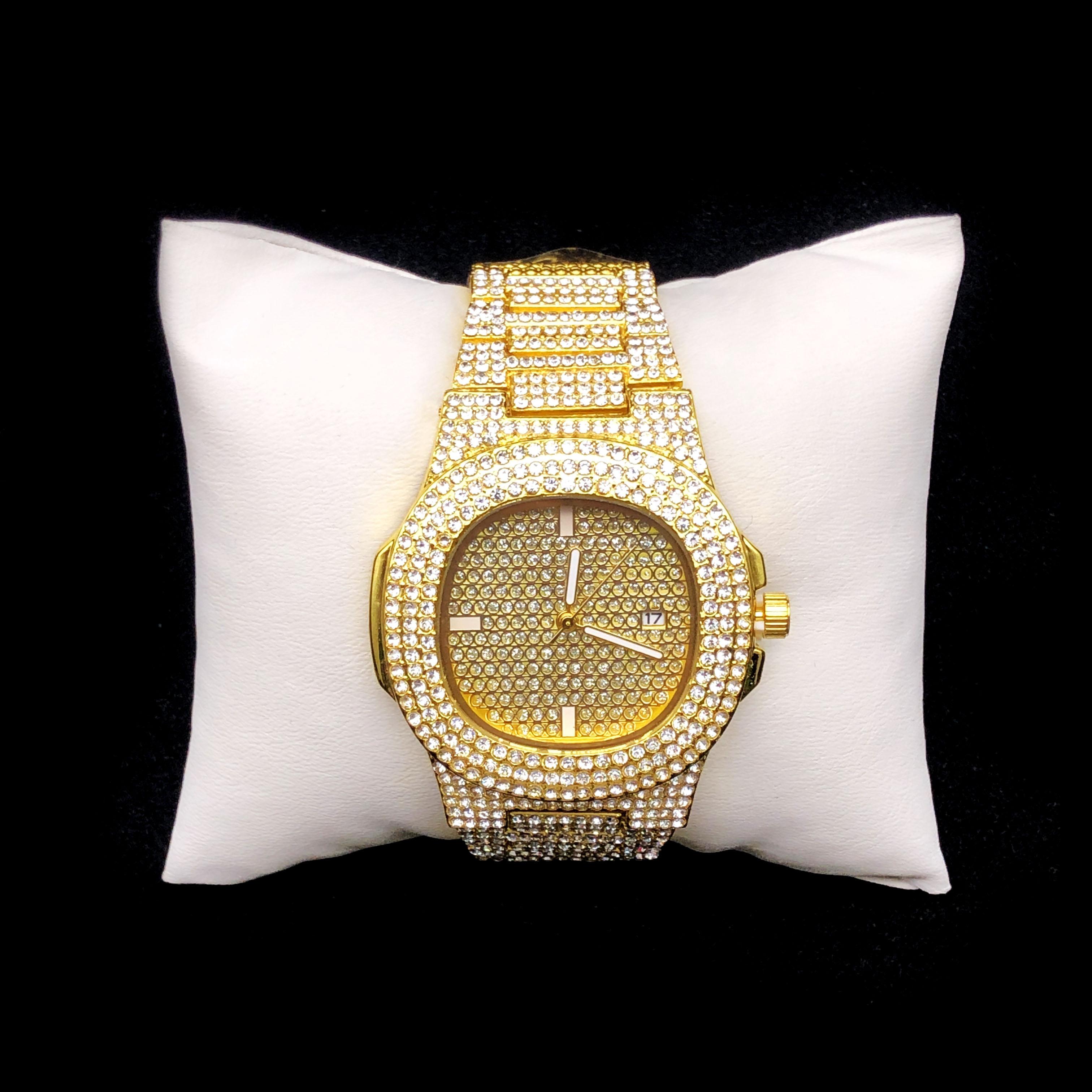 Luxury Men's Watches Hip-hop Alloy Ice Cuban Gold Geometric Watches Hip-hop Men's Fashion Jewelry