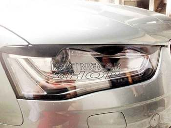 Real Carbon Fiber Head Light Covers Eyelids Eyebrows For Audi A4 B9 2013UP A077E 1