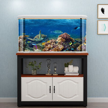Aquarium Decoration Backdrop-Sticker Fish-Tank Sea-Turtle Painting Picture-Ocean Double-Sided