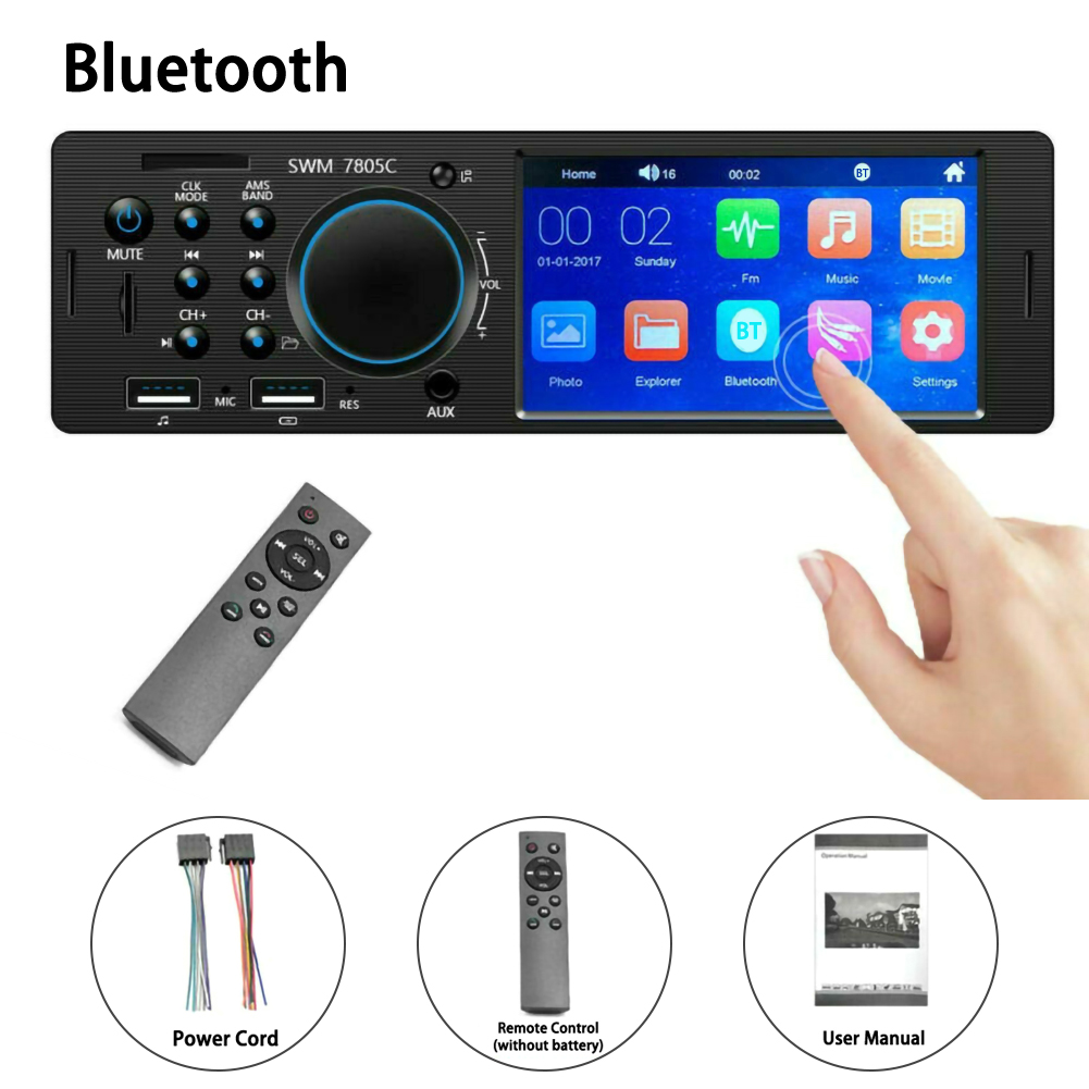 4.1 Inches HD 1 Din Car Radio Stereo Touch Screen Autoradio Replace WMA Bluetooth AUX In-Dash MP5 Udisk Car Stereo Radio Coche image