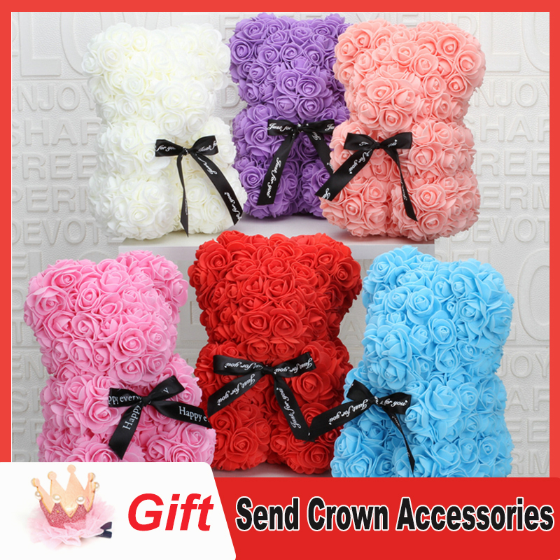 Rose teddy bearfoam plastic bear colorful artificial flowers bride teddy bear birthday gift Valentine's Day decorations