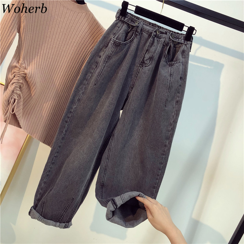 Woherb New Arrival Solid Color High Waist Jeans Women Plus Size 5XL Casual Loose Denim Pants Fashion Trousers Streetwear 91637