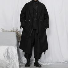 Męski płaszcz z ciemnej wełny Yamamoto długi płaszcz męski dwurzędowy over-the-knee tanie tanio IKKB CN (pochodzenie) Pełna REGULAR Wełna mieszanki Stałe long Skręcić w dół kołnierz