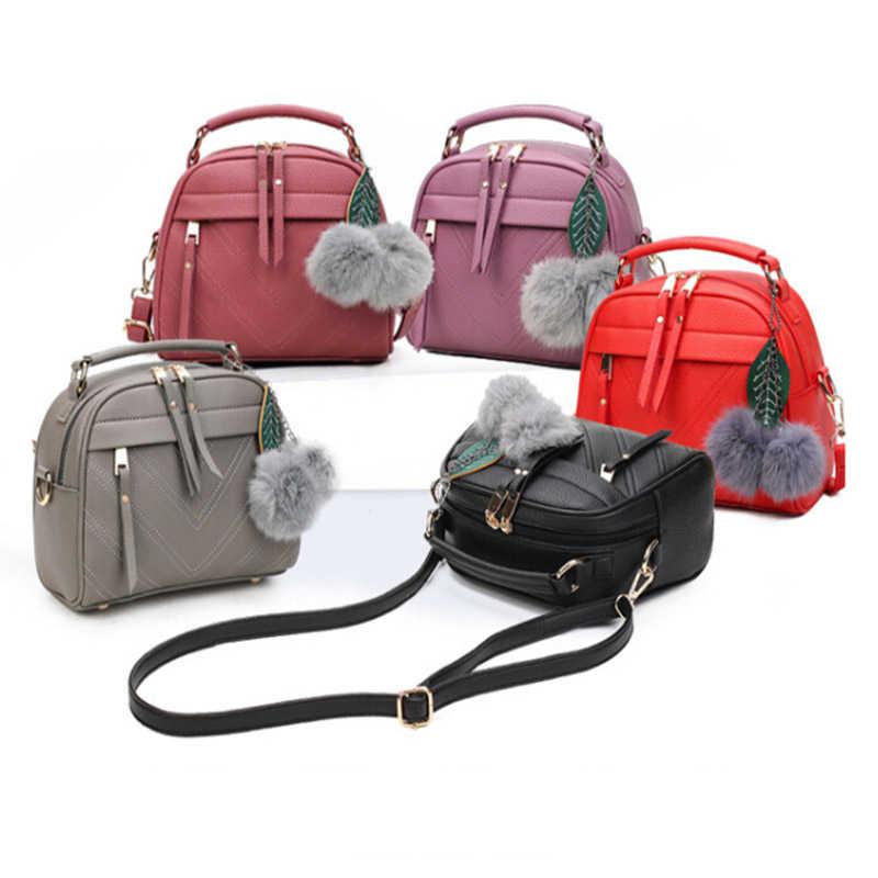 Bolsa feminina de couro sintético com chaveiro, bolsa feminina feita em couro sintético de poliuretano com chaveiro de bolinhas de estilo carteiro e bolsa de mão e de ombro de 2020