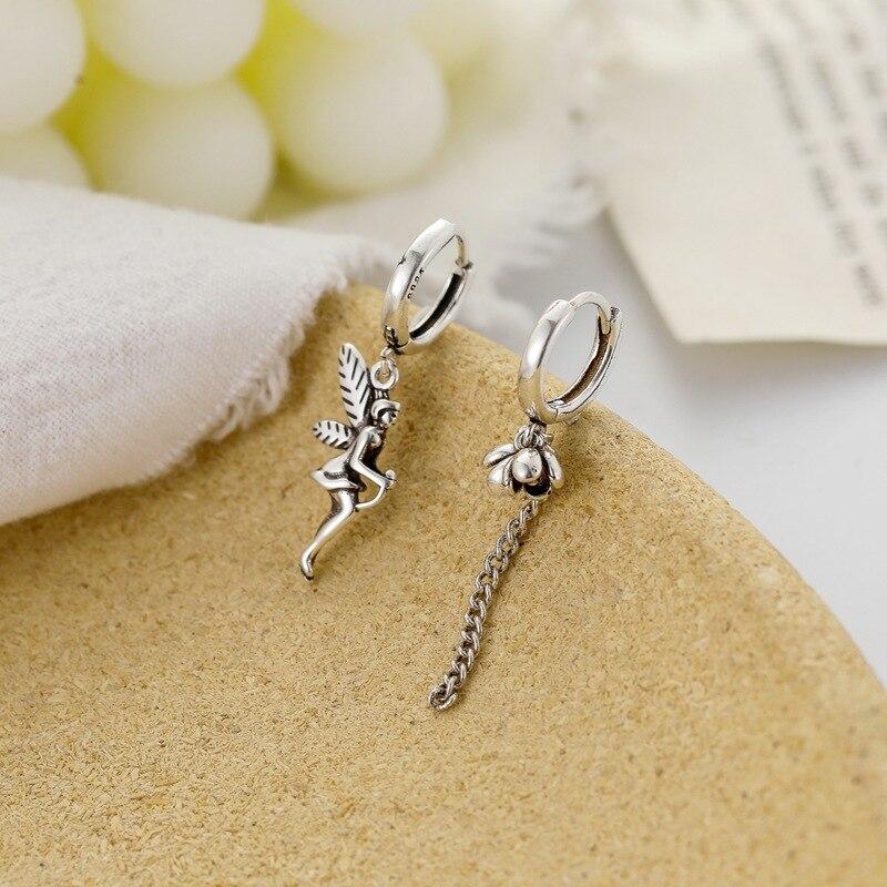 1Pair Trendy Vintage Retro Angle Wing Fairy Hoop Earrings For Women Punk Bud Flower Irregular Circle Earrings Jewelry E483