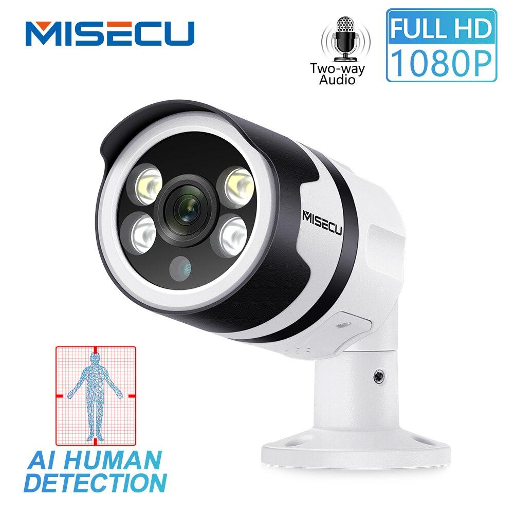 MISECU H.265 2MP AI Câmera De Detecção Humana 1080P POE Câmera IP Two-Way Áudio Segurança Ao Ar Livre À Prova D' Água Cheia visão de cores Noite