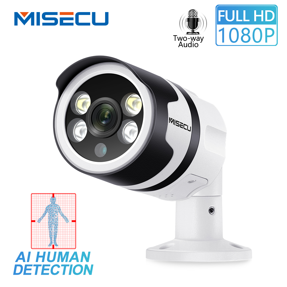MISECU H.265 2MP AI Camera Human Detection 1080P POE IP Camera Two-Way Audio Security Outdoor Waterproof Full Color Night Vision