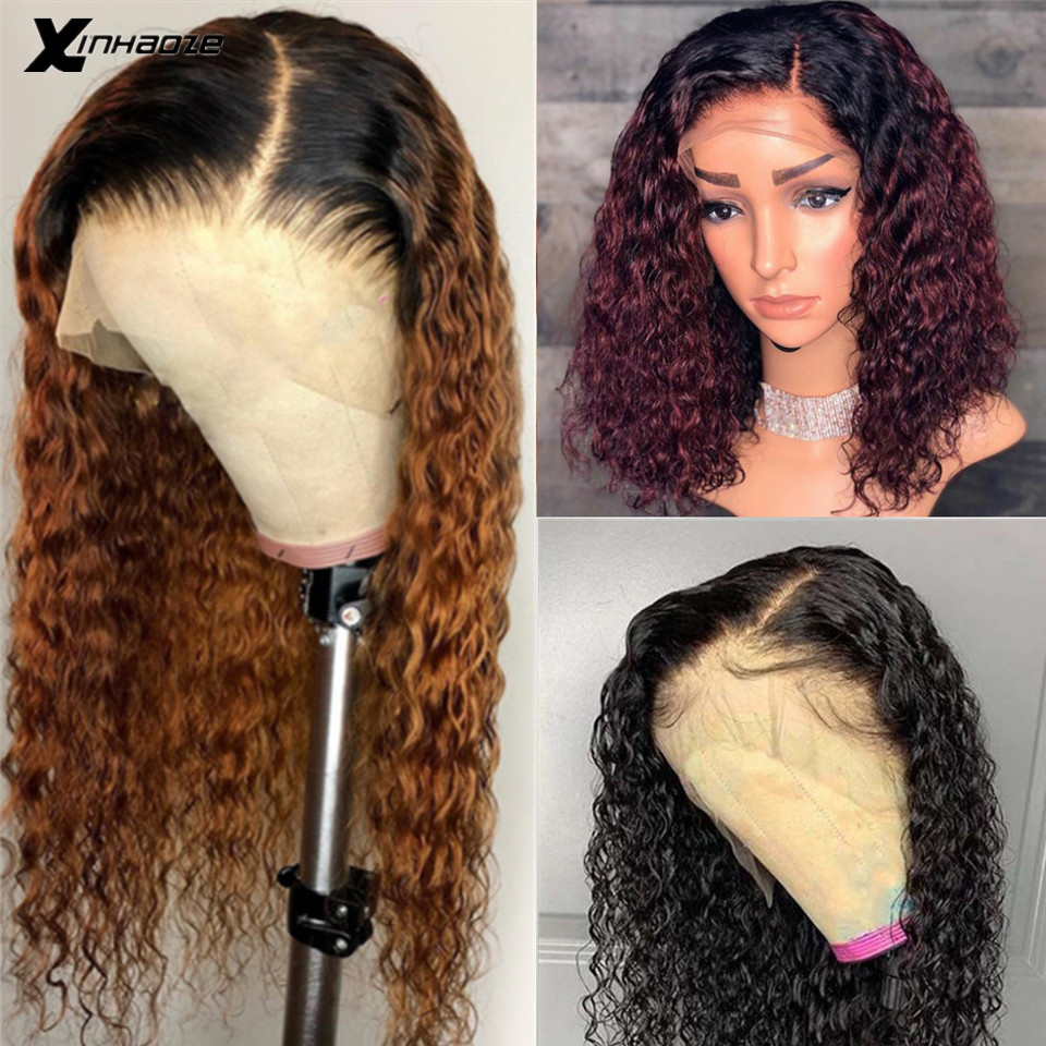 Brazilian Wet Wavy Lace Front Human Hair Wigs Ombre #1bT30 Remy Hair Glueless PrePlucked Ombre Burgundy Lace Front Wig Baby Hair