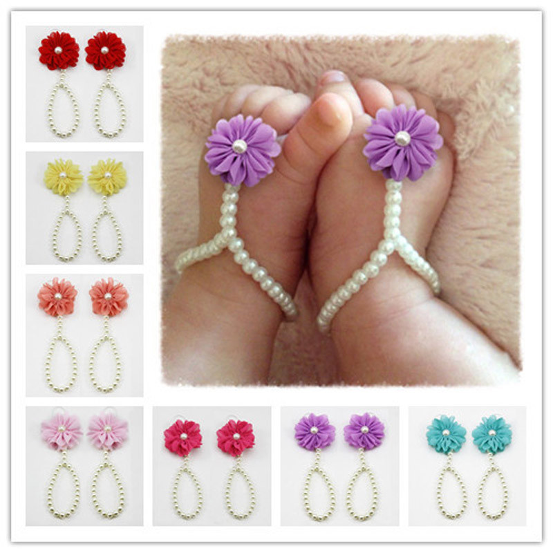 Anklet Ankle Chain 1Pair Pearl Bracelet Chiffon Barefoot Toddler Foot Flower Beach Sandals Jewelry Gift Leg girl baby accesorios