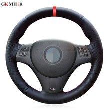 Черный PU искусственная кожа Красный Маркер DIY чехол рулевого колеса автомобиля для BMW M Sport M3 E90 E91 E92 E93 E87 E81 E82 E88 X1 E84