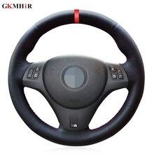 שחור PU מלאכותי עור אדום סמן DIY רכב הגה כיסוי עבור BMW M ספורט M3 E90 E91 E92 E93 e87 E81 E82 E88 X1 E84