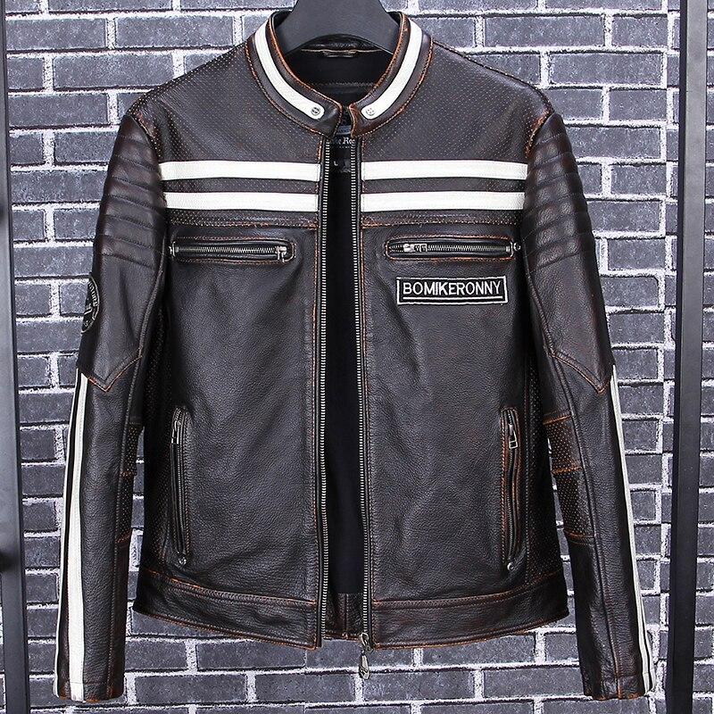 2020 Vintage Black Men Skulls Embroidery Biker's Jacket Plus Size 4XL Genuine Cowhide Slim Fit Motorcycle Leather Coat