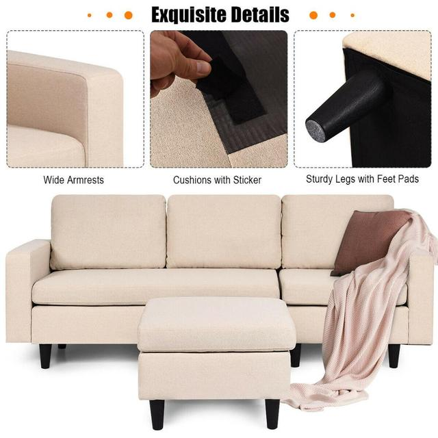 Sectional Fabric L-Shaped Couch  5
