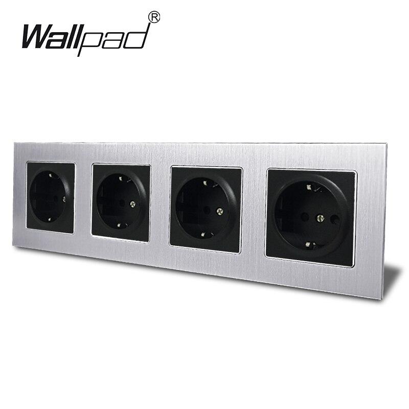 4 voies EU prise de courant Wallpad 300*86mm argent métal cadre Quadruple 16A mur EU Schuko prise murale avec griffes pour boîte ronde