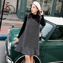2019 Vintage Two Piece Dress Women Autumn Winter Kawaii Sweater Tweed Ladies Dresses Plus Size Elegant Party Mini vestidos