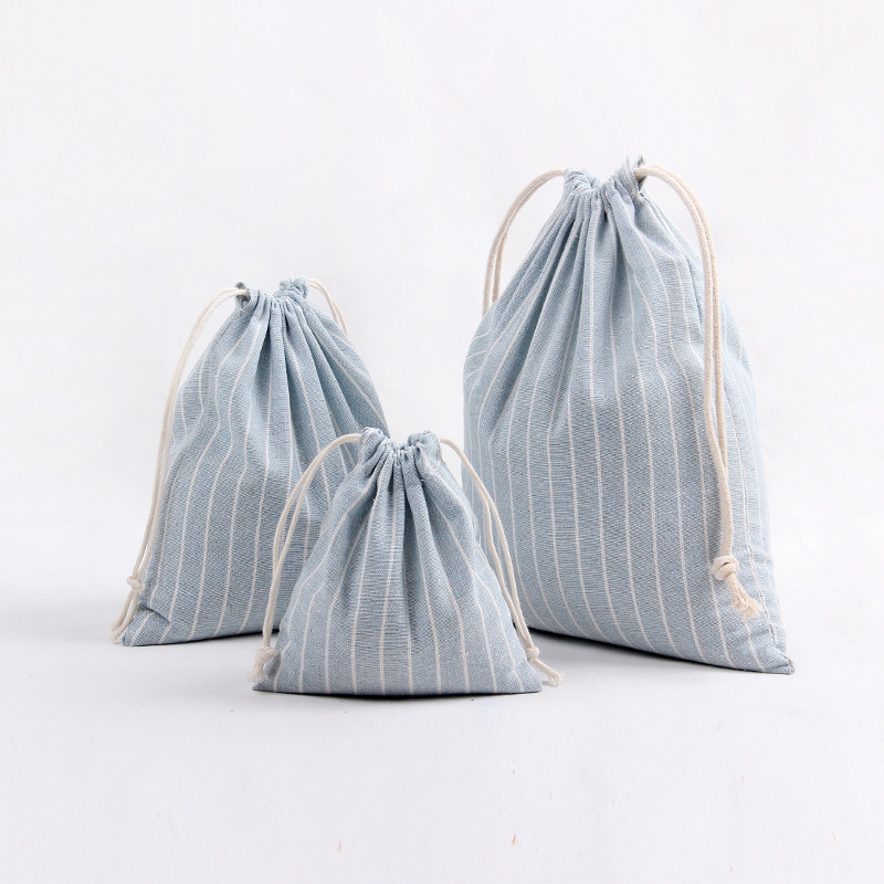 3 Size Stripe Design Printed Drawstring Bag Pocket Storage Candy Color Pattern Backpack Women Cotton Fabric Bags