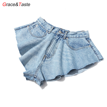 Grace&Taste Fashion Casual Denim Shorts Skirts High Waist Ruffle Hem Loose Ruched Female Clothing Jean Bottom Hot Pants Summer twotwinstyle casual denim shorts skirts high waist ruffle hem loose ruched short pants female fashion clothing 2020 spring tide