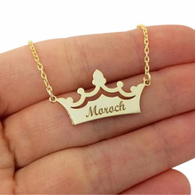 Crown Hollow Personalized Name Necklace Women Collares Mujer Choker Gold Chain Necklaces Pendents Stainless Steel Bijoux Femme
