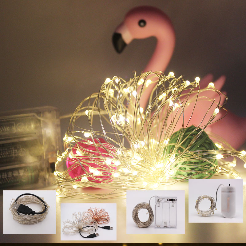 LED String Lights 2M 5M 10M Silver Wire Garland Home Christmas Wedding Party Decoration Powered By 5V Battery USB Fairy Light