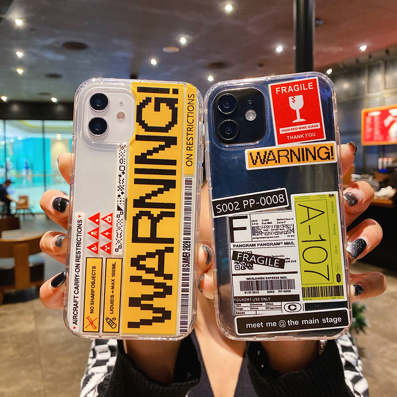 Brand Warning label fragile QR code Phone Case For iPhone 12 mini 11 X 7 8 plus XS Max XR Fashion simple express delivery Cover