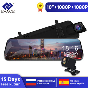 E-ACE A20 Car Dvr Dash Cam 10 Inch Streaming RearView Mirror 1080P Video Recorder Auto Registrar Dual Lens with Rear View Camera(China)