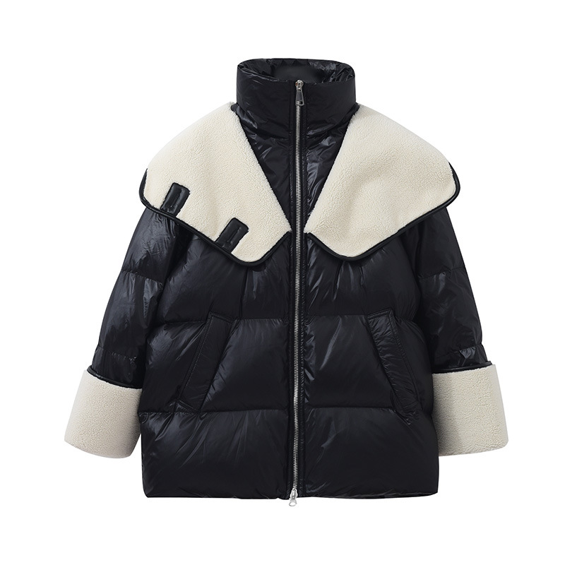 2021 winter new down jacket women new fashion mid length loose and thin lamb hair stitching 2021 winter new down jacket women new fashion mid-length loose and thin lamb hair stitching white duck down long-sleeved jacket