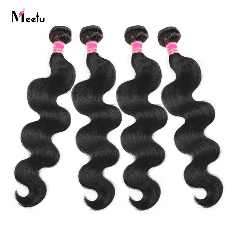 Meetu Peruvian Body Wave 4 Bundles Deal 100% Human Hair Weave Bundles Natural Color Non Remy Hair Can Be Dyed Hair Extensions