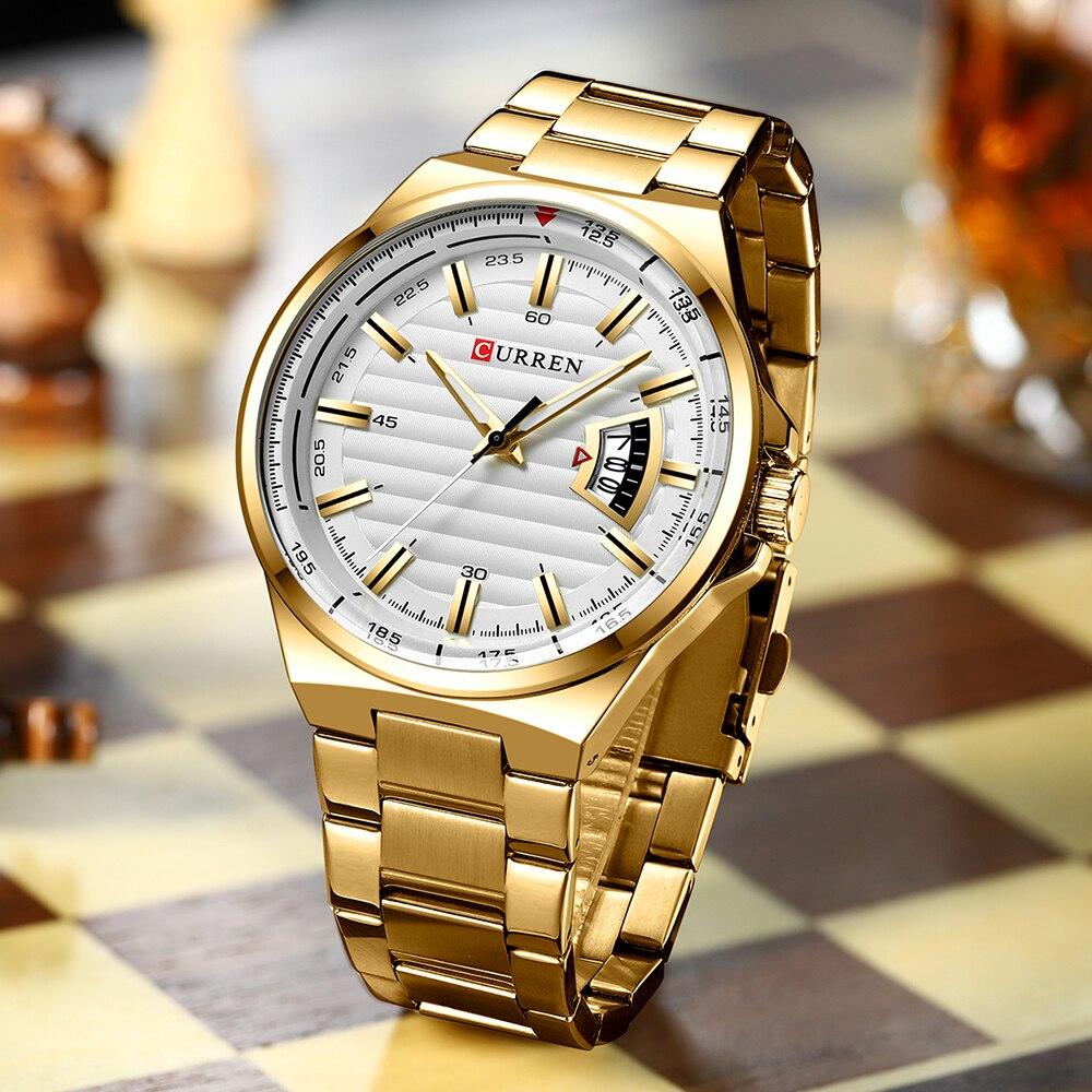 رجل العلامة التجارية الفاخرة ساعة الذهب لباس أبيض العلامة التجارية CURREN الساعات الفولاذ المقاوم للصدأ الكوارتز ساعة اليد تاريخ السيارات ساعة الذكور Relogioساعات الكوارتزالساعات -