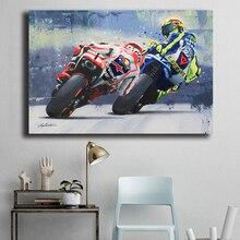 Валентино Росси плакат мотоцикл холст живопись акварельные масляные принты настенные художественные декоративные картины для гостиной домашний декор