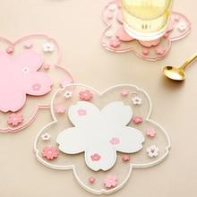 Cherry Blossom Heat Insulation Table Mat Family Office Anti-skid Tea Cup Milk Mug Coffee Cup Desk Pad