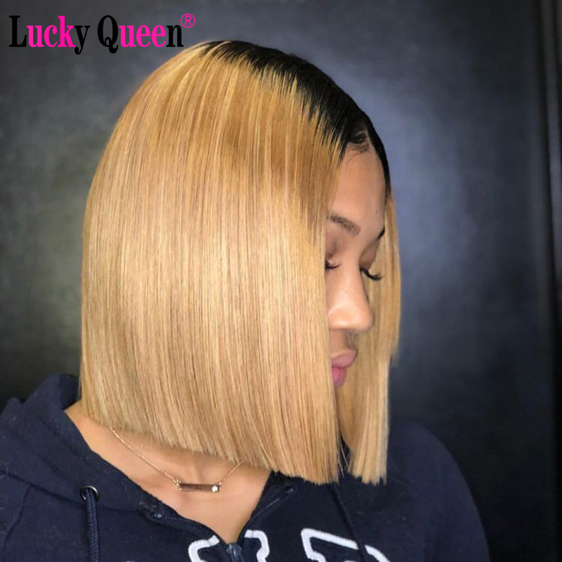 Omber Honey Blonde Short Bob Wigs Transparent Lace Front Wigs Pre Plucked For Black Women Lucky Queen Remy Human Hair Wigs