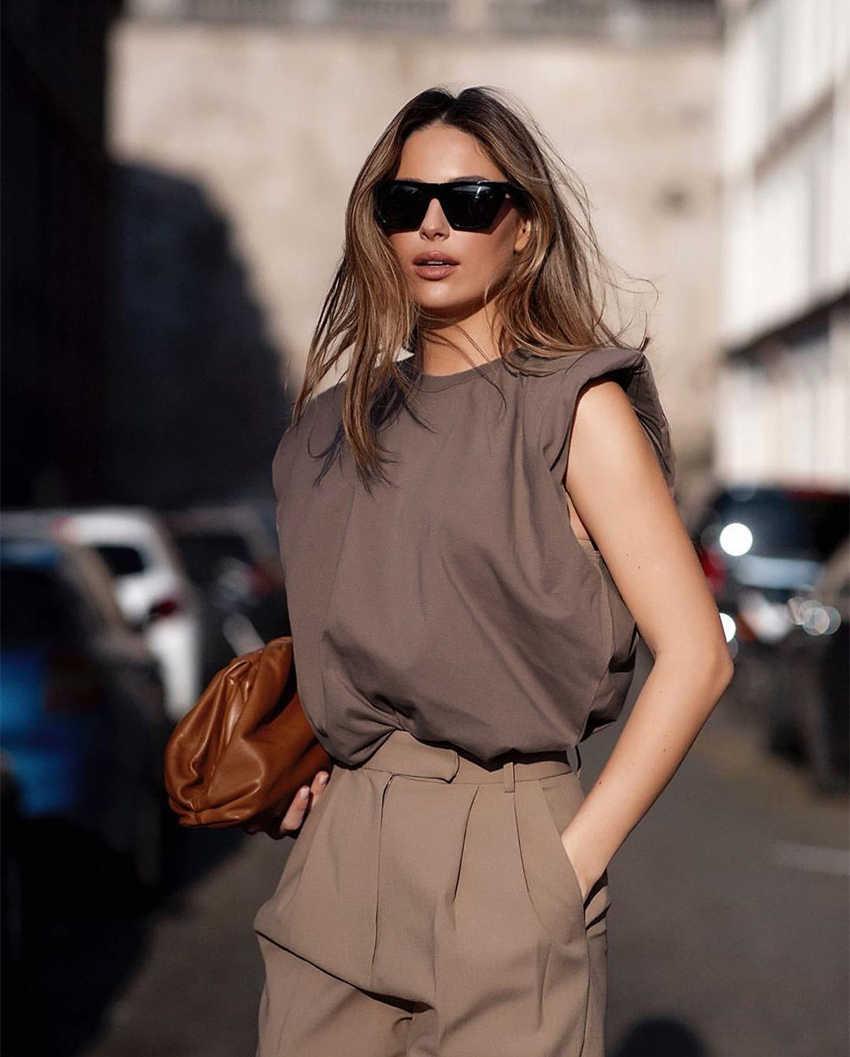 קיץ גופייה נשית O צוואר לבן נשים חולצה גבירות Loose מוצק שיק מקרית חולצות שחור 2020 כותנה חום