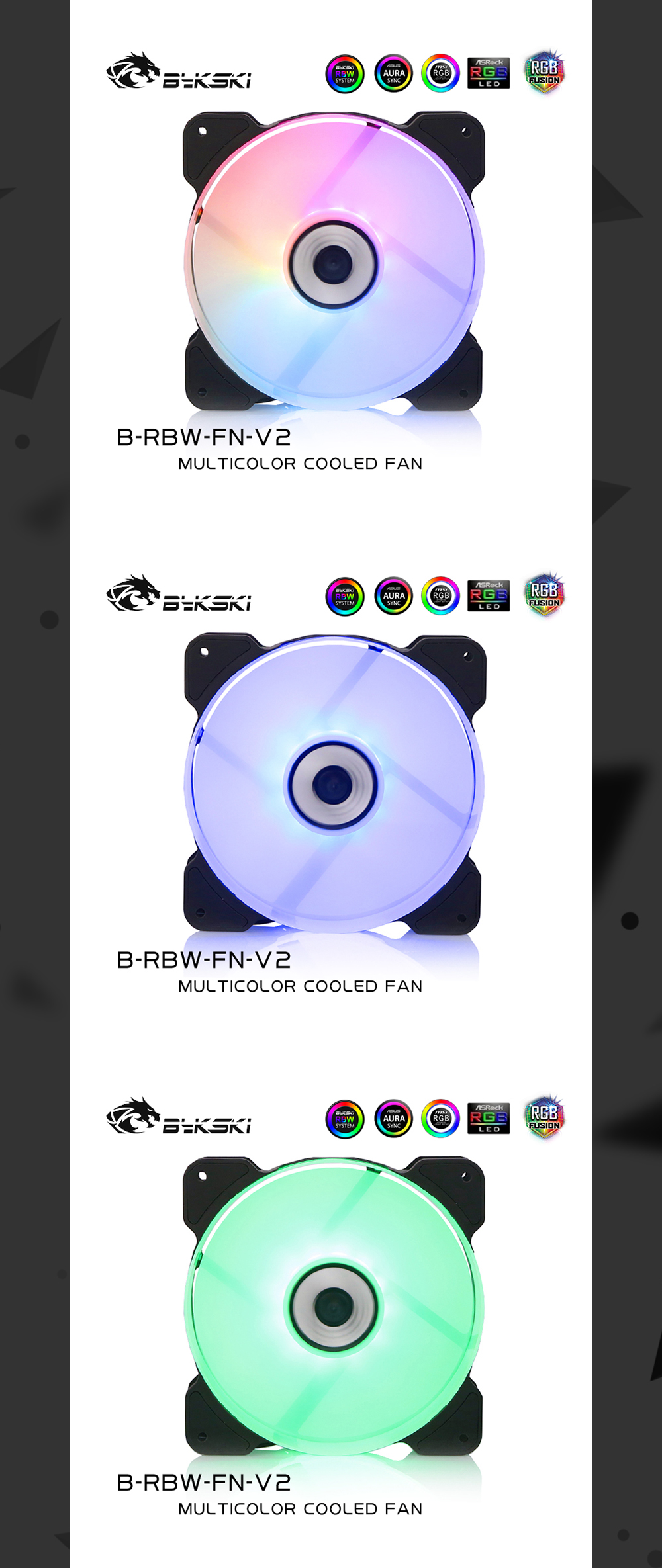 Bykski B-RBW-FN-V2 RBW 120mm Constant Cooling Fan / Cooler, Compatible With 120 / 240 / 360 / 480 mm Radiators