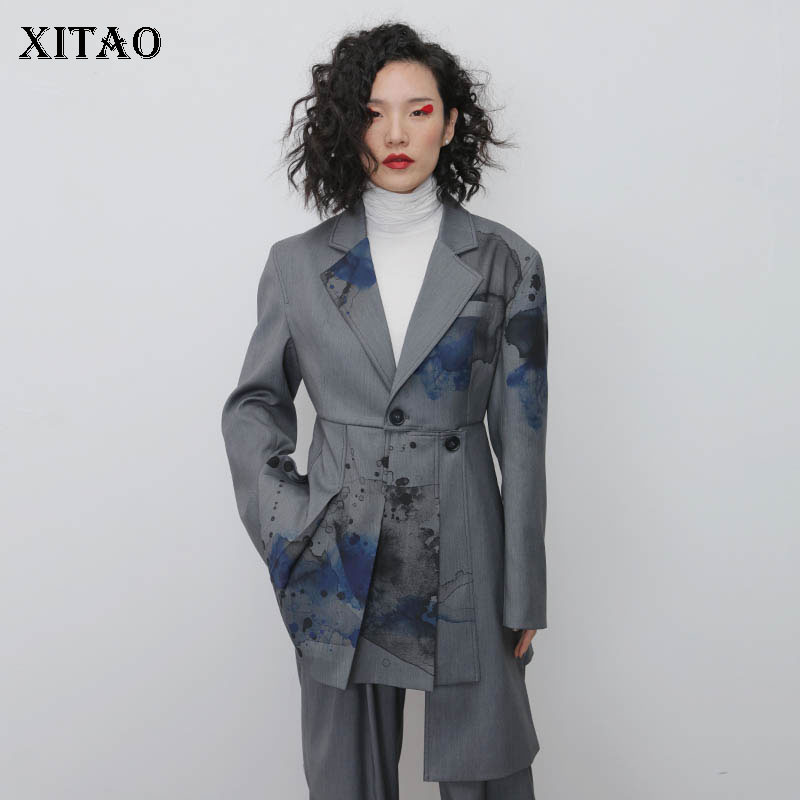 XITAO Print Hem Blazer Fashion New Single Breast Full Sleeve Small Fresh Irregular Casual Minority Casual Pleated Coat DMY2397