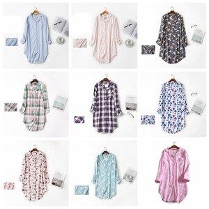 Image 4 - 春カジュアル夜女性の綿長袖ネグリジェ特大睡眠シャツ 100% 綿のパジャマ pj 寝間着