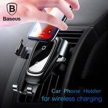 Baseus держатель для телефона в машину Универсальный Автомобильный держатель 10 Вт qi Беспроводное зарядное устройство для iPhone X samsung S10 S9 S8 Быстрая зарядка подставка для телефона на вентиляционное отверстие