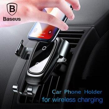 Baseus soporte para teléfono de coche 10w cargador inalámbrico qi para iPhone X Samsung S10 S9 S8 soporte para teléfono cargador para teléfono de coche en la rejilla de aire