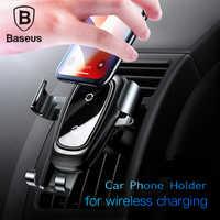 Baseus supporto del telefono per auto 10w qi caricatore senza fili per iPhone X Samsung S10 S9 S8 del telefono supporto del telefono per auto caricatore in aria di sfiato