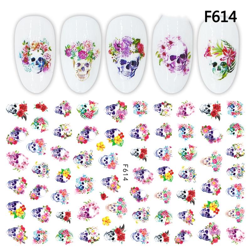 3D Nail Sticker Decals Skull Flowers Design Nail Art Decorations Stickers Slider Manicure Accessories Nails Decoraciones