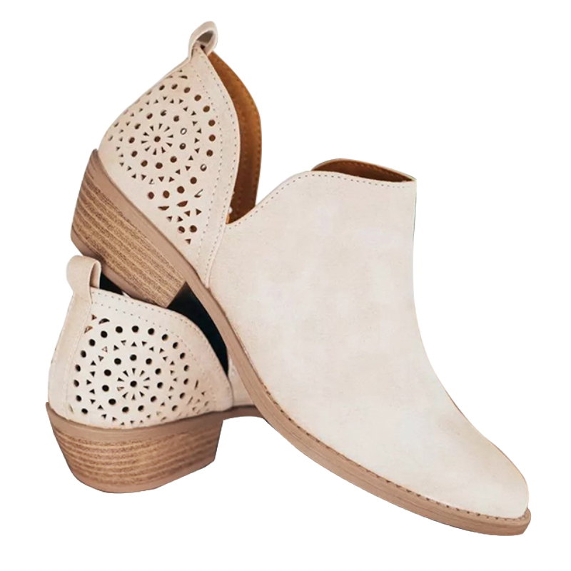 Women Slip on Ankle Boots Casual Cut Out Low Heel Short Boots Fashion Hollow Out Pointed Toe Chunky Heel Booties Lady Size 35-43