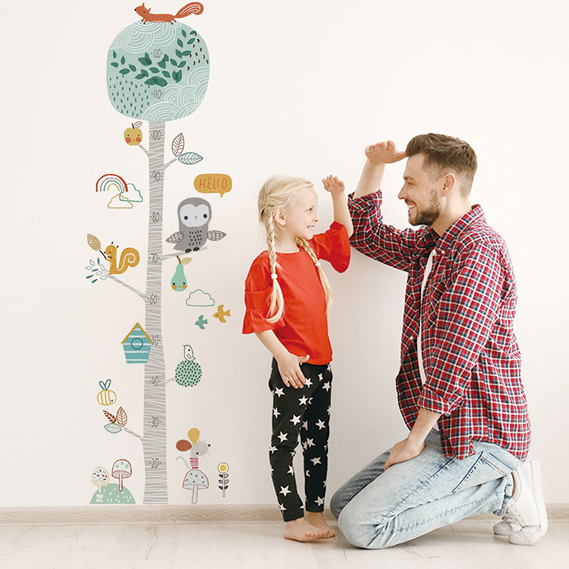 Cartoon Height Ruler Wall Stickers Animal Tree For Kids Room Bedroom Home Decor Wall Decals Baby Nursery Home Decoration Murals