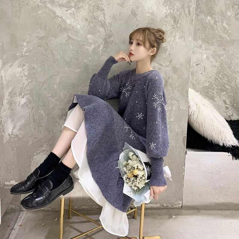 Knitted dress 2019 autumn winter new style snowflake base loose dress with mid-length lace-side fairy knitted dress