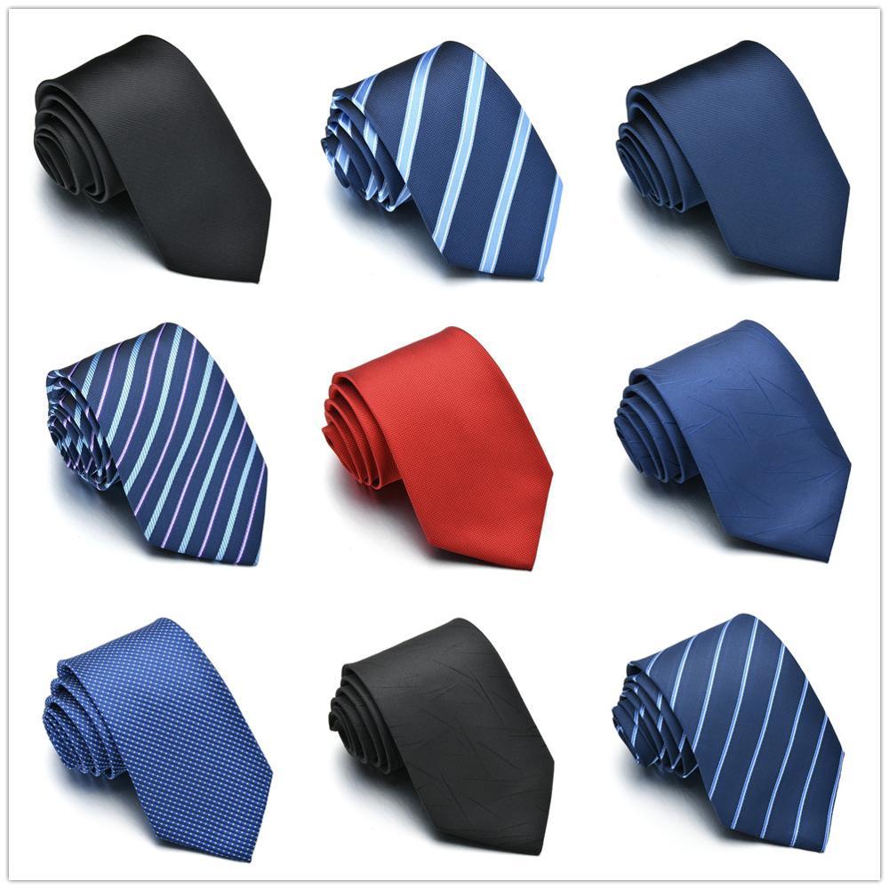 Gravata para homem gravata de cor sólida gravata de poliéster estreito cravat azul real preto vermelho listra festa formal laços moda