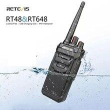 Retevis walkie talkie rt48/rt648 ip67, à prova d água, flutuante, rádio pmr446/frs vox, carregamento usb, rádio de duas vias para baofeng UV 9R