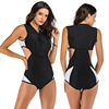 Zippered Front Sports One Piece Swimsuit 9
