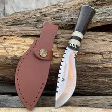 SAMSEND Straight knife 440C Blade wood handle EDC Hiking hunting tool give away Holster