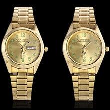 Мужские светящиеся золотые часы бизнес из нержавеющей стали