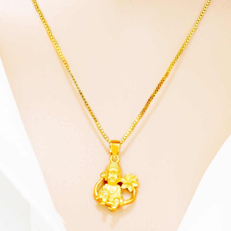 Omhxfc Grosir PN453 Eropa Fashion Panas Yang Baik Wanita Gadis Pesta Ulang Tahun Pernikahan Hadiah Lotus Buddha 24KT Emas Liontin Pesona